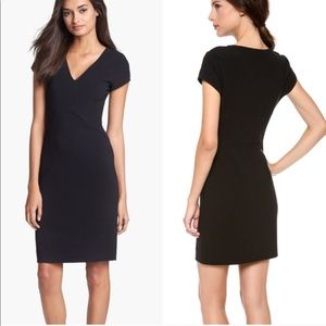 DVF Norma Black Sheath V Neck Stretch Dress 14